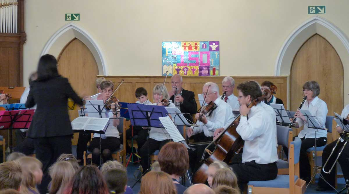The Uckfield Community Orchestra playing at the Uckfield United Reformed Church Concert on 22 June 2016 to celebrate 150 years of the Church in Uckfield.
